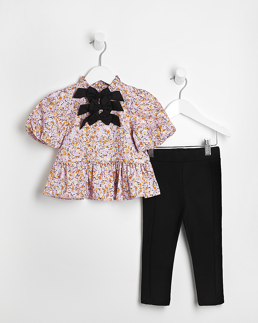 Mini girls pink floral bow blouse outfit