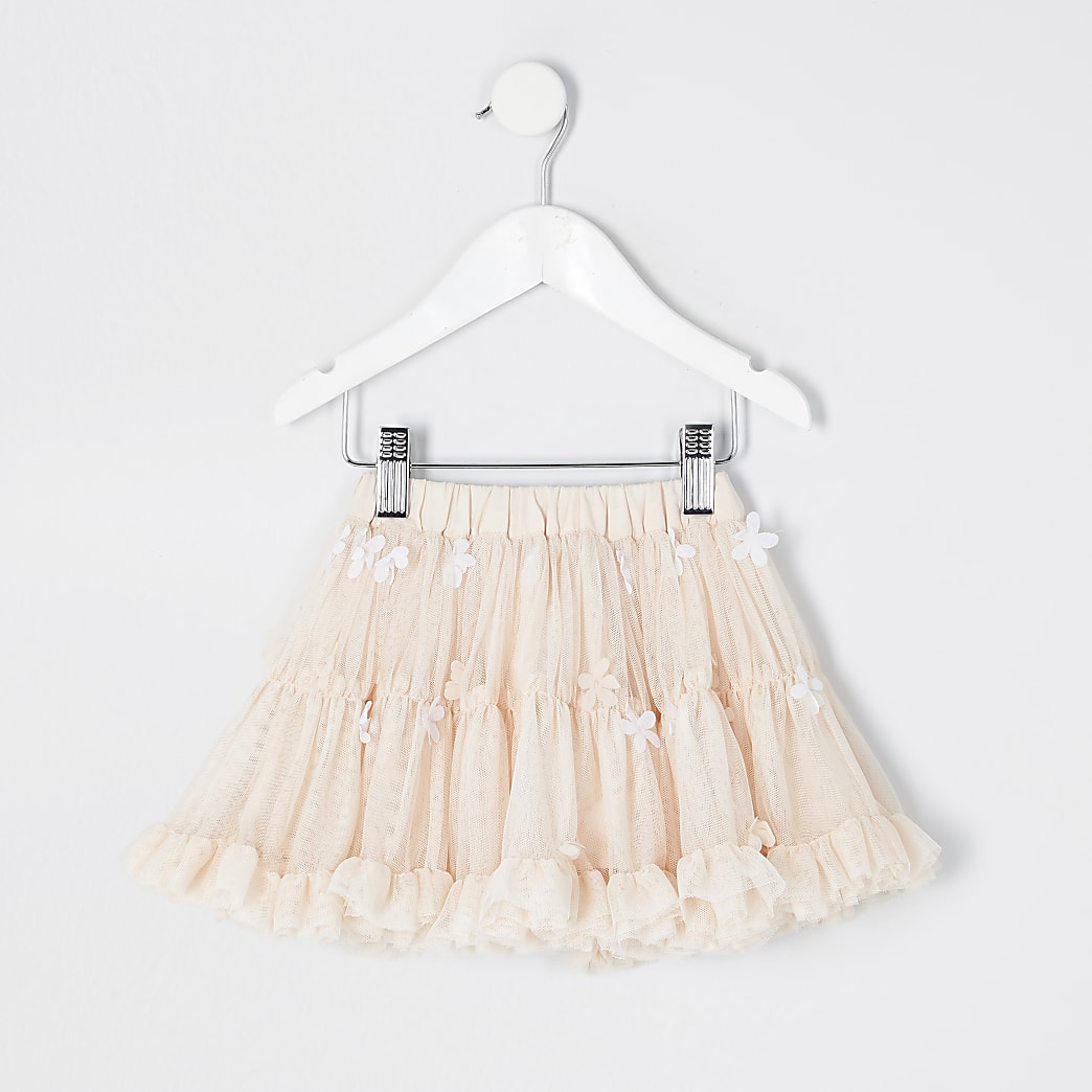 Mini girls pink floral embellished tutu