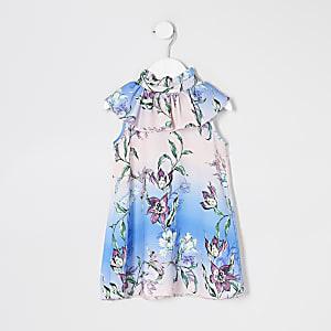 Mini – Gerüschtes Swing-Kleid mit Blumenmuster in Rosa