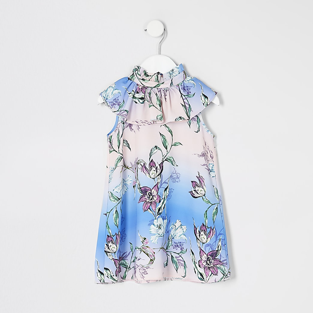 Mini girls pink floral frill swing dress