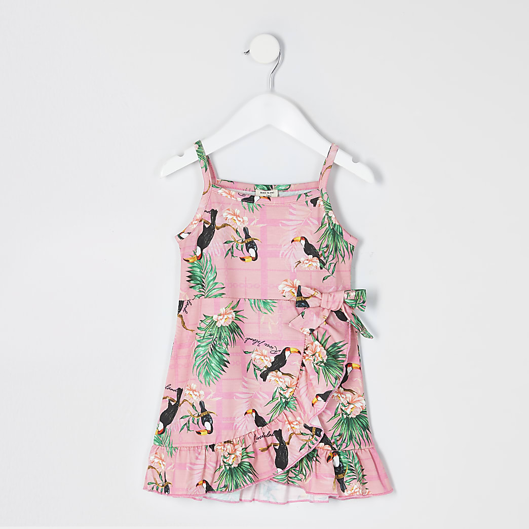 Mini girls pink floral frill wrap dress
