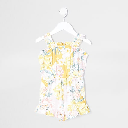 Mini girls pink floral print playsuit
