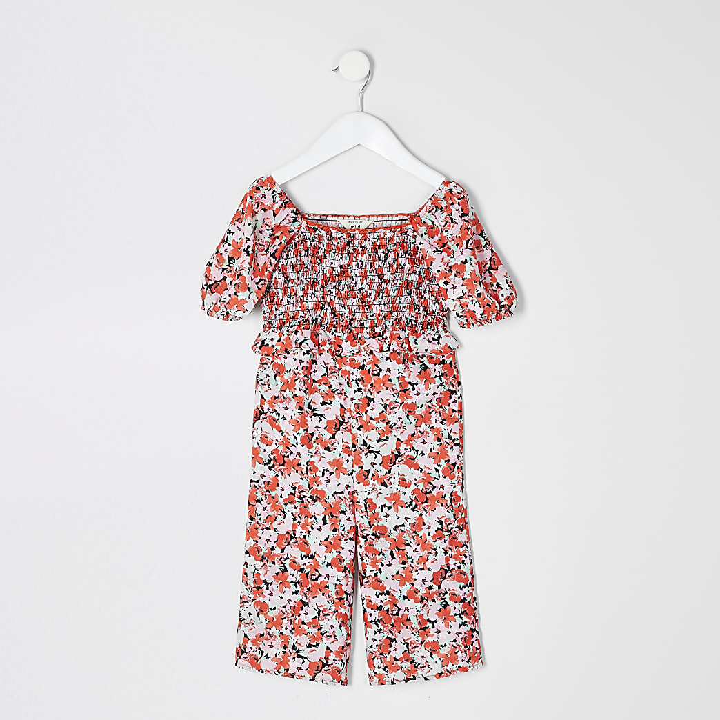 Mini girls pink floral puff sleeve jumpsuit