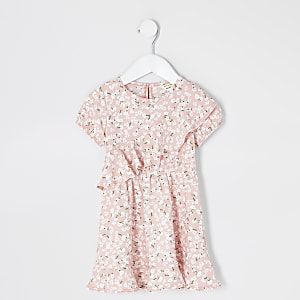 Mini girls pink floral ruffle skater dress