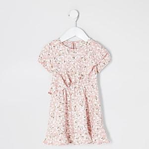 Robe patineuse froncée à fleurs rose pour mini fille