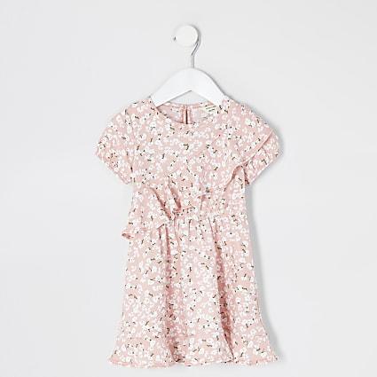Mini girls pink floral ruffle skater dress