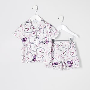 Mini - Roze satijnen pyjama met bloemenprint voor meisjes