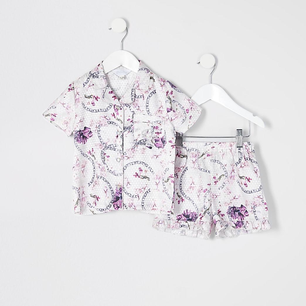 Mini girls pink floral satin pyjamas