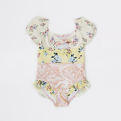 Mini girls pink floral swimsuit