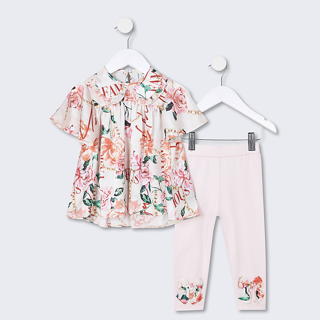 Mini girls pink floral top and legging outfit