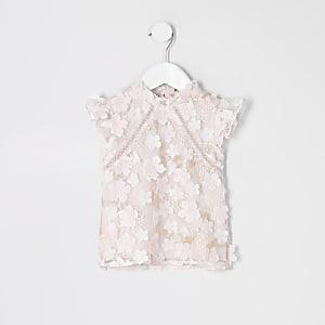 Mini - Roze top verfraaid met kant voor meisjes