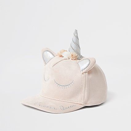 Mini girls pink flower unicorn curved cap