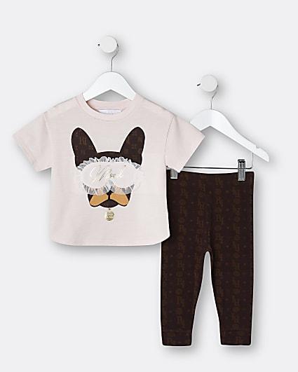 Mini girls pink Frenchie pyjama outfit