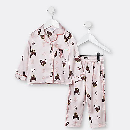 Mini girls pink frenchie satin pyjama set
