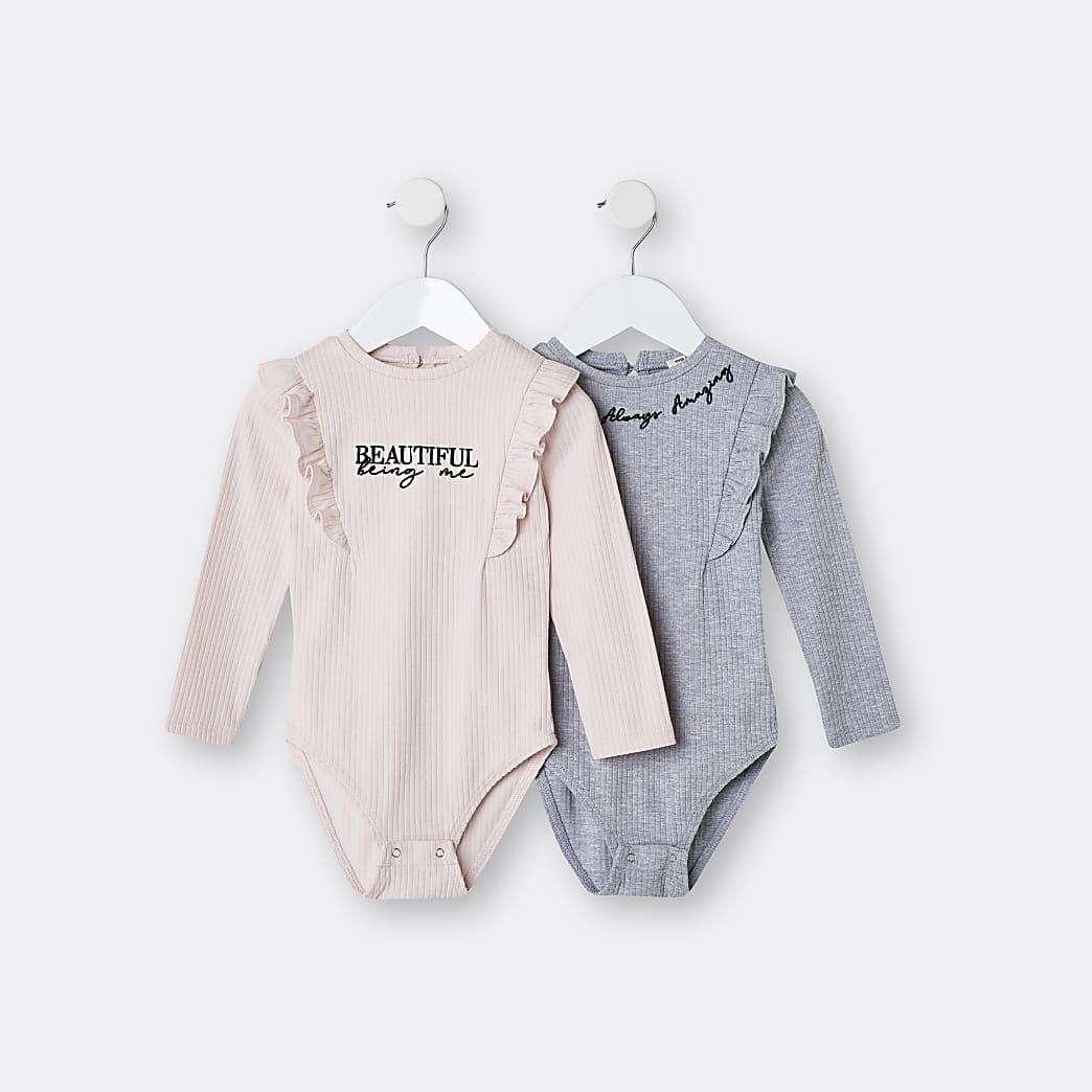Mini girls pink frill bodysuits 2 pack