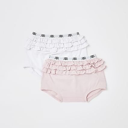 Mini girls pink frill briefs 2 pack