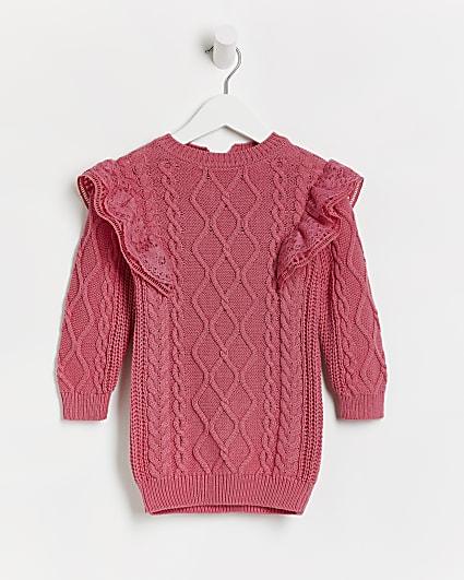 Mini girls pink frill cable knit jumper dress