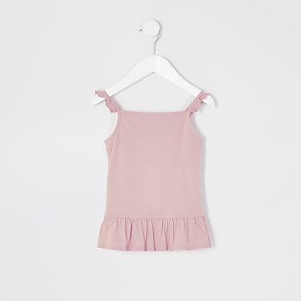 Mini girls pink frill cami top