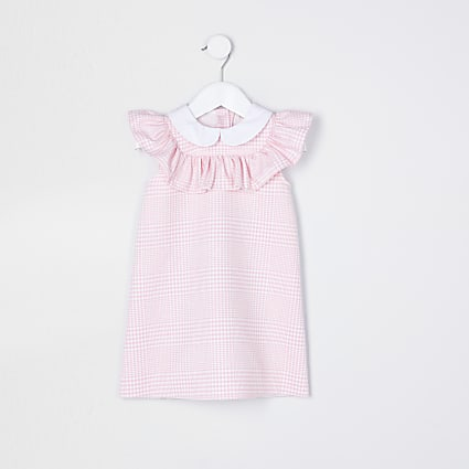 Mini girls pink frill check print dress