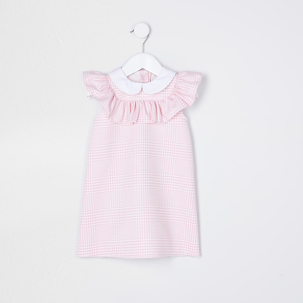 Mini girls pink frill check print dress