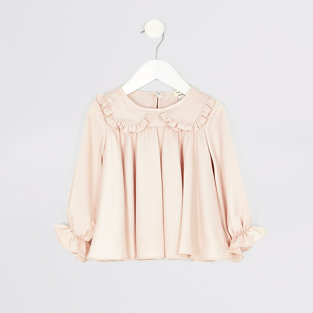 Mini girls pink frill collar top