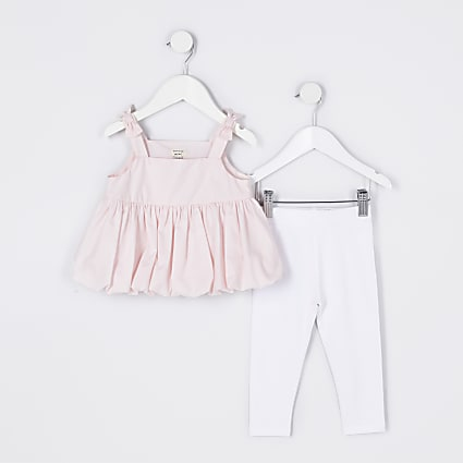 Mini girls pink frill hem cami legging outfit