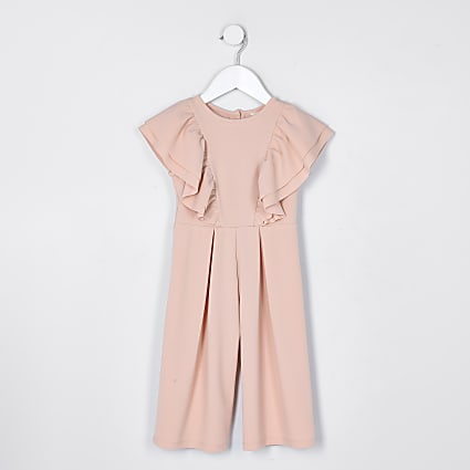 Mini girls pink frill jumpsuit