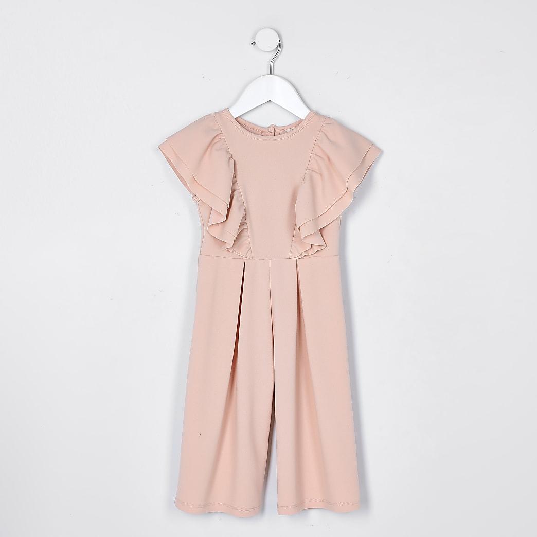 Mini girls pink frill jumpsuit