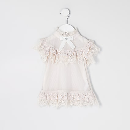 Mini girls pink frill lace bow top