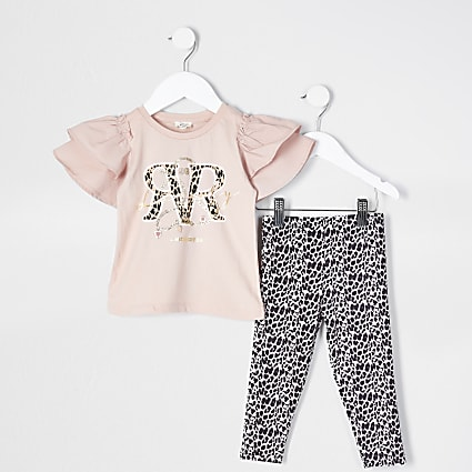 Mini girls pink frill leopard print set