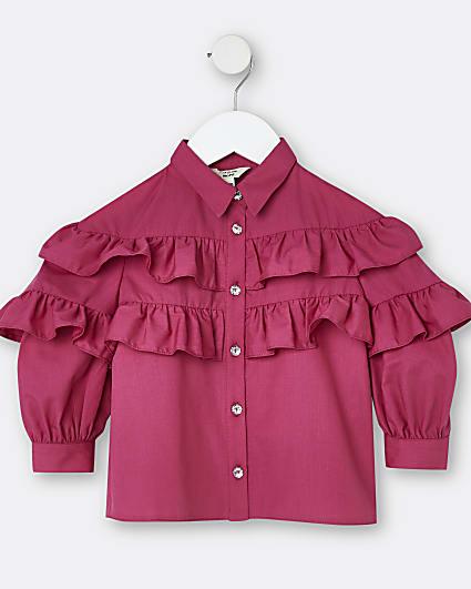Mini girls pink frill poplin shirt