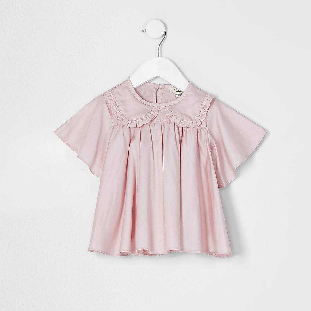 Mini girls pink frill poplin top