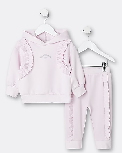 Mini girls pink frill scuba hoodie outfit