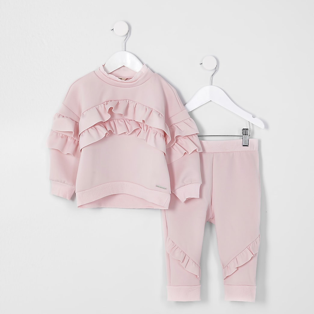 Mini girls pink frill scuba tracksuit
