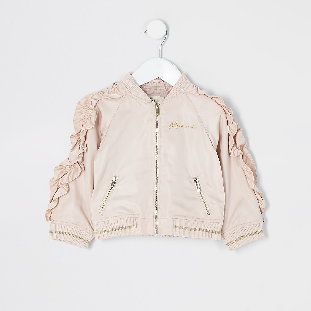Mini girls pink frill sleeve bomber jacket