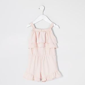 Mini - Roze mouwlozeplaysuit met ruches voor meisjes