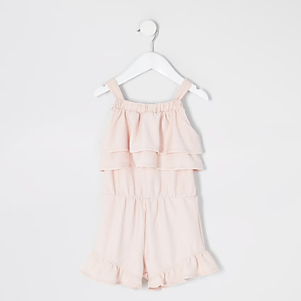 Mini girls pink frill sleeveless playsuit