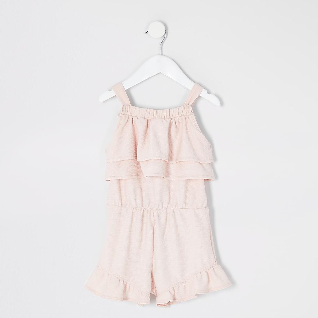 Mini girls pink frill sleeveless playsuit