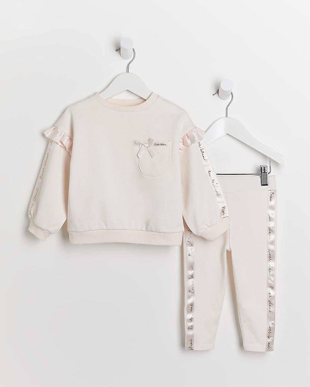 Mini girls pink frill sweatshirt and leggings