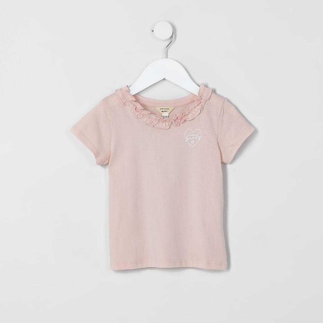 Mini girls pink frill tee