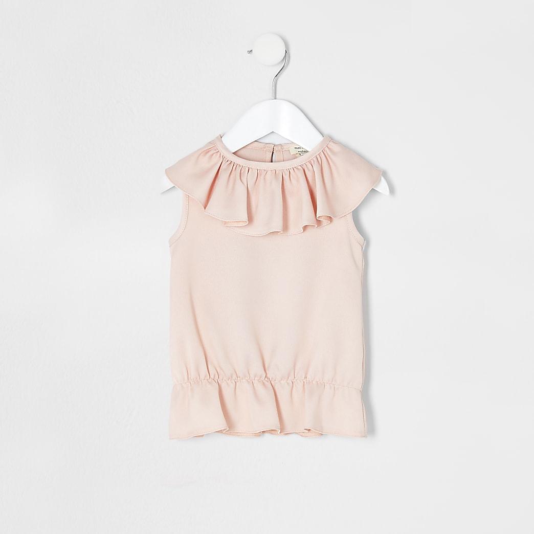 Mini - Roze top met ruches voor meisjes