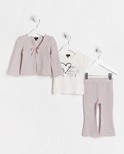 Mini girls pink gingham cardigan 3 piece set