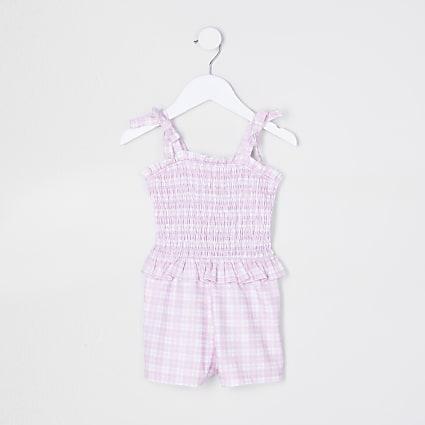 Mini girls pink gingham shirred playsuit