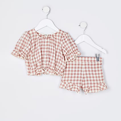 Mini girls pink gingham top and shorts set