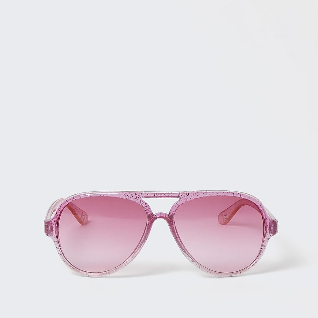 Mini girls pink glitter aviator sunglasses