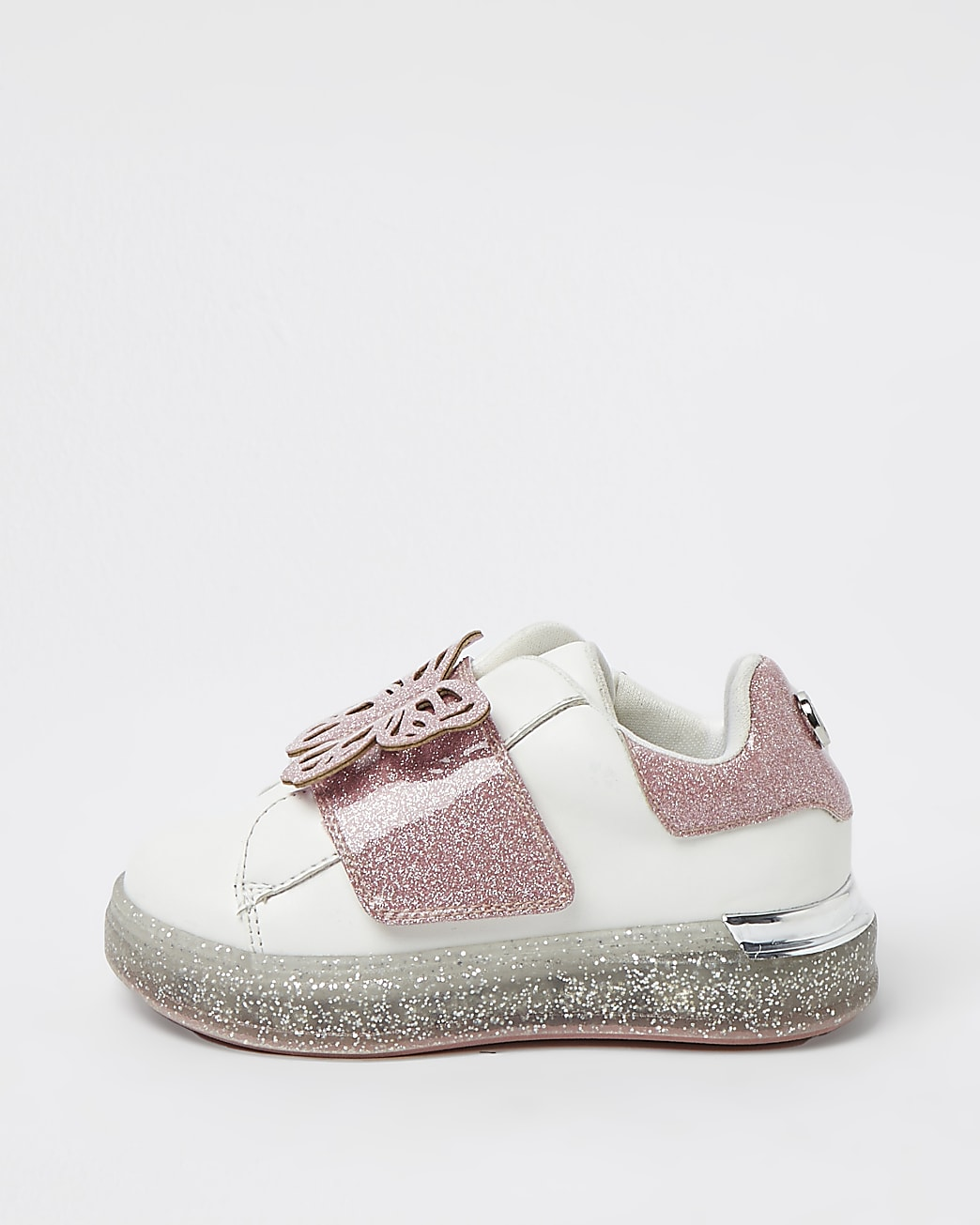 Mini girls pink glitter butterfly trainers
