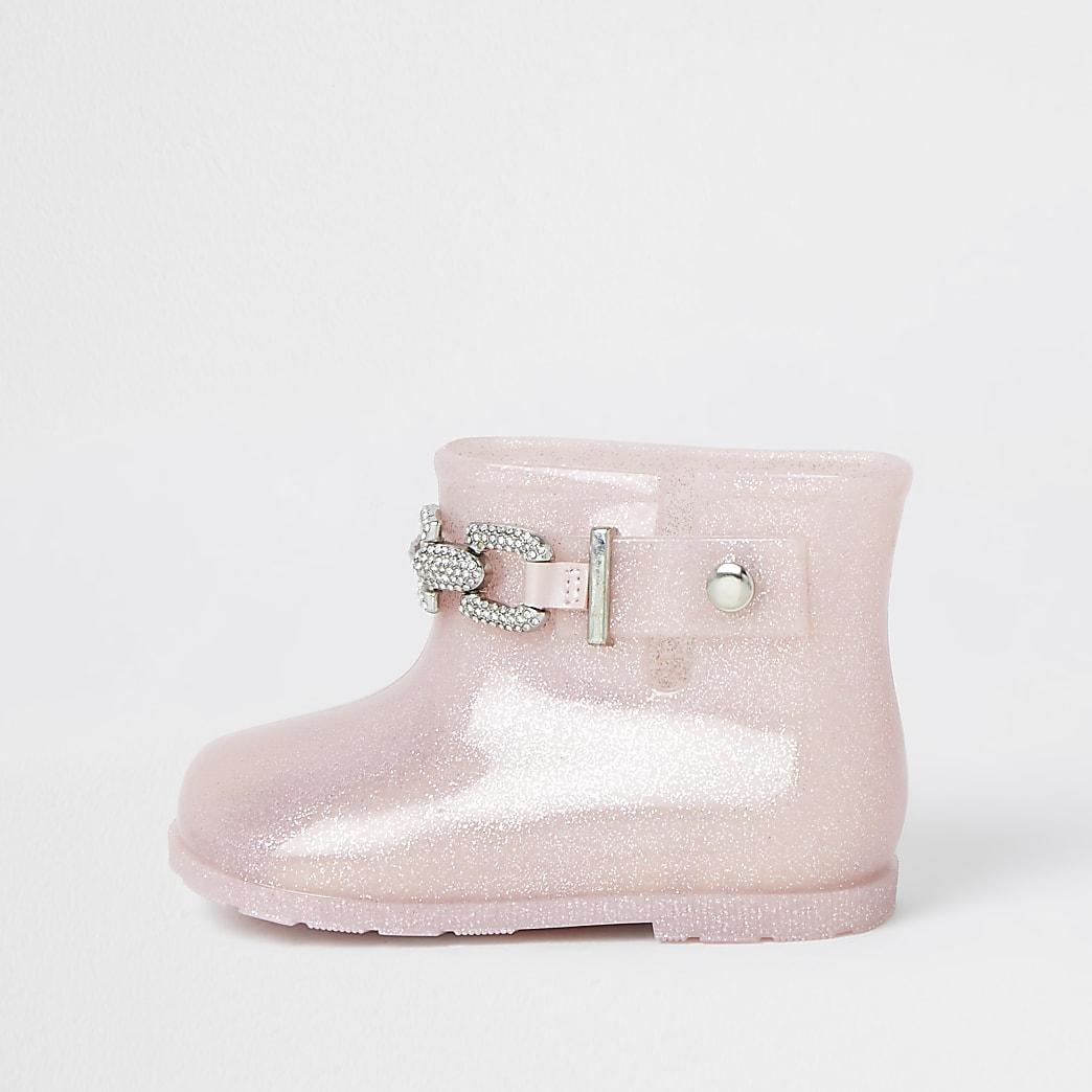 Mini girls pink glitter chain wellie boots