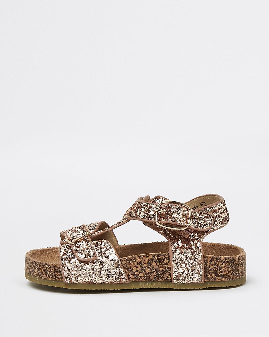 Mini girls pink glitter cork sandals
