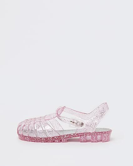 Mini girls pink glitter jelly sandals