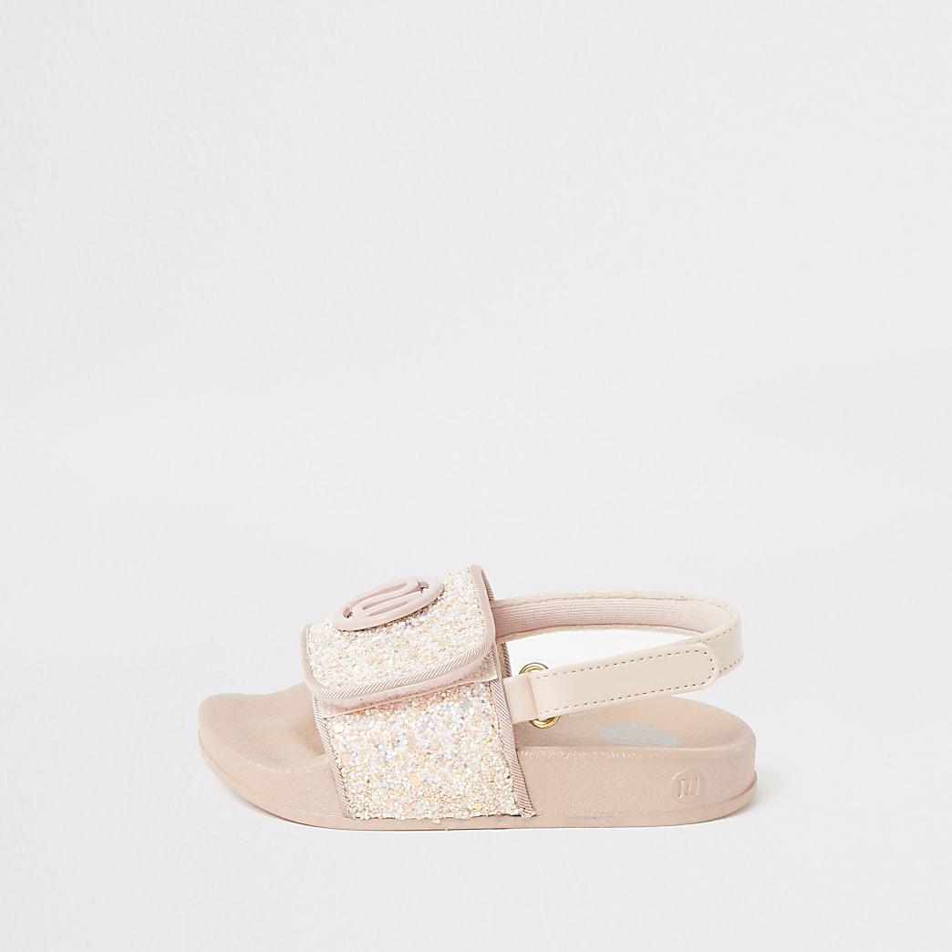 Mini - Roze slippers met glitters en RI-print voor meisjes